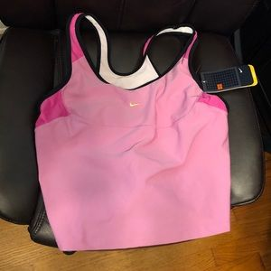NWT Nike crop tank top with built-in bra pink XL